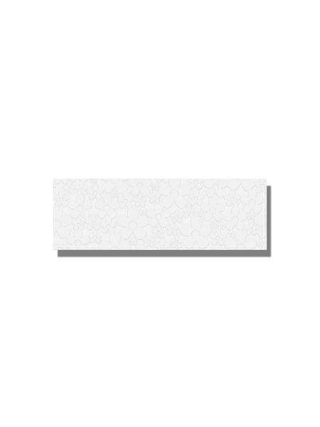 Revestimiento soft decorado daisy white brillo 20 x 60 cm. Una serie de azulejos para paredes de colores cálidos para cualquier diseño de tu cocina o baño.