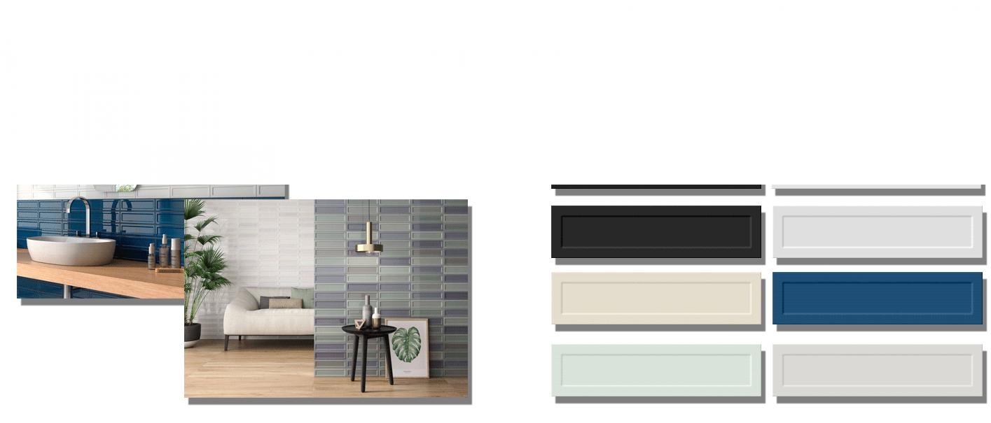 Azulejo tipo metro con volumen de formato 7.5x30 cm en colores cálidos pastel