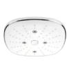 Rociador de ducha de mano 3 funciones cuadrado cromo-blanco. Rociador de ducha en ABS, con tres funciones fácilmente accesibles mediante un botón.
