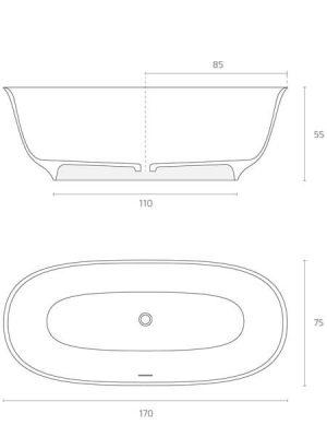 Bañera exenta Solid Surface Baikal 170x75 cm. Bañera de libre instalación con rebosadero interno. Una bañera de líneas curvas con una frágil curvatura.