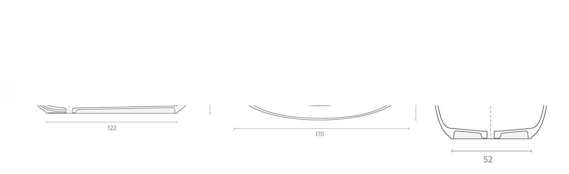 Bañera exenta Solid Surface Leman 170x80 cm.Bañera de libre instalación con rebosadero interno. Una bañera de líneas curvas con una frágil curvatura.