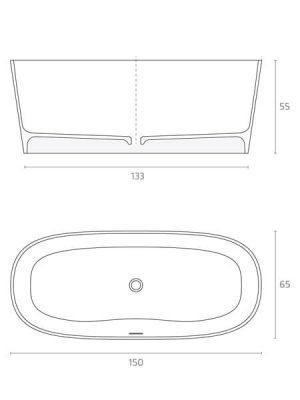 Bañera exenta Solid Surface Maracaibo 150x65 cm. Bañera de libre instalación con rebosadero interno. Una bañera de líneas curvas con una frágil curvatura.