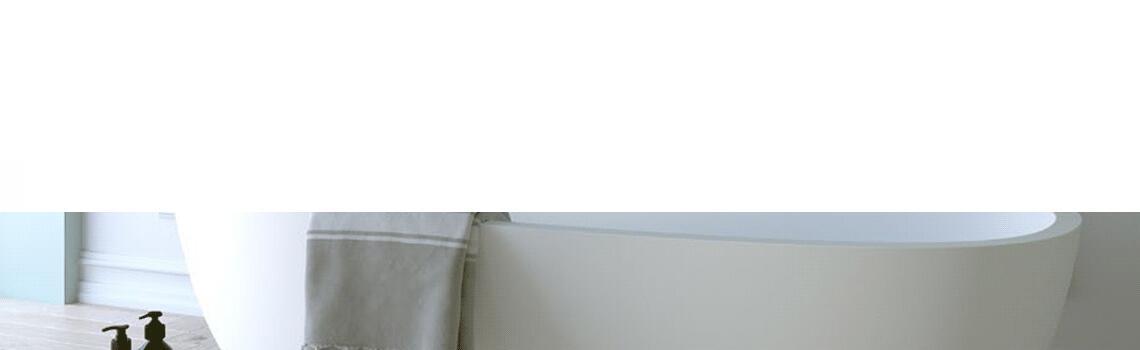 Bañera exenta Solid Surface Onega 175x80 cm. Bañera de libre instalación con rebosadero interno. Una bañera de líneas curvas con una frágil curvatura.