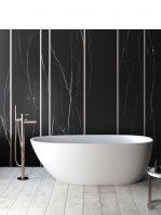 Bañera exenta Solid Surface Turkana 170x75 cm.Bañera de libre instalación con rebosadero interno. Una bañera de líneas curvas con una frágil curvatura.