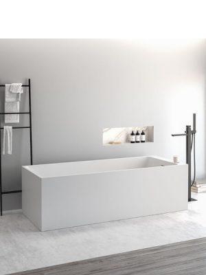Bañera exenta Solid Surface Volta 169x68 cm.Bañera de libre instalación con rebosadero interno. Una bañera de líneas rectas pero con una frágil curvatura.