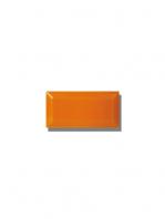 Azulejo biselado tipo metro naranja 7.5x15 cm. Revestimiento biselado bicocción para decoraciones estilo vintage en baños o cocinas.