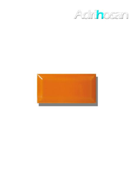 Azulejo biselado tipo metro naranja 7.5x15 cm (1 m2/cj)