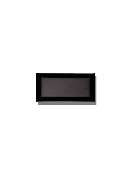 Azulejo biselado tipo metro negro 7.5x15 cm. Revestimiento biselado bicocción para decoraciones estilo vintage en baños o cocinas.