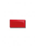 Azulejo biselado tipo metro rojo 7.5x15 cm. Revestimiento biselado bicocción para decoraciones estilo vintage en baños o cocinas.