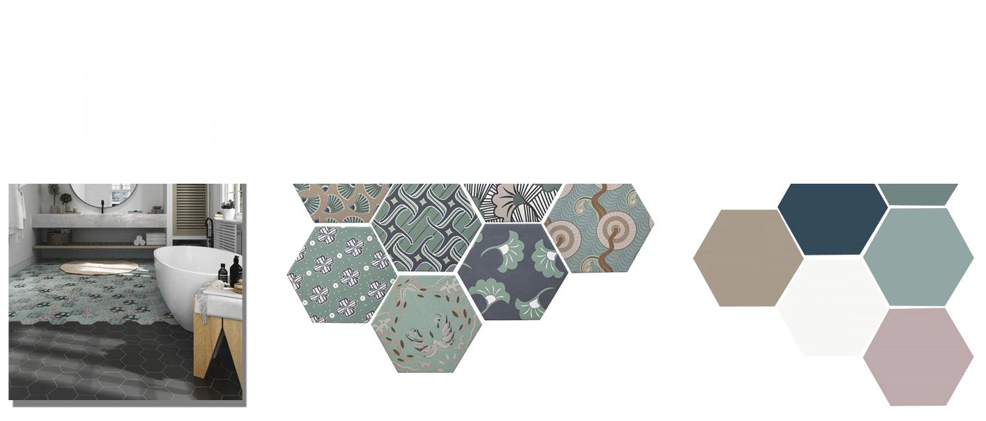 Azulejo hexagonal good vibes 14x16 cm. Revestimiento hexagonal porcelánico para decoraciones estilo vintage en baños o cocinas.