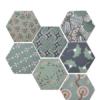 Azulejo hexagonal good vibes decor mix 14x16 cm. Revestimiento hexagonal porcelánico para decoraciones estilo vintage en baños o cocinas.