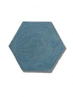 Baldosa hidráulica Hexagonal Relieve azul oscuro 23x20x1.5 cm de cemento pigmentado.Labaldosa hidráulicadecorativa con relieve única en el mercado.