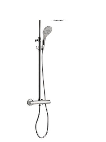Columna de ducha termostática cromada Modena . Minimalista conjunto ducha termostático, de formas redondeadas, sin casi relieves y acabado cromo brillo.