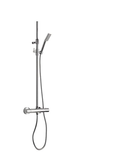 Columna de ducha termostática cromada Orta. Minimalista conjunto ducha termostático, de formas redondeadas, sin casi relieves y acabado cromo brillo.
