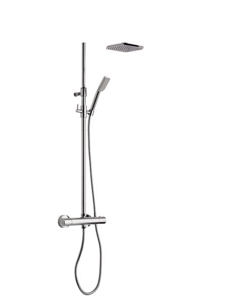 Columna de ducha termostática cromada Parma. Minimalista conjunto ducha termostático, de formas redondeadas, sin casi relieves y acabado cromo brillo.