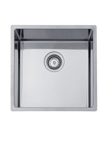 Fregadero acero inoxidable aktuell 4040. Un fregadero con tres posibilidades de instalación, sobre encimera, bajo encimera y enrasado con la encimera.