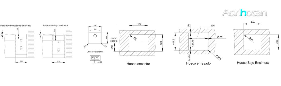 Fregadero acero inoxidable aktuell 4540. Un fregadero con tres posibilidades de instalación, sobre encimera, bajo encimera y enrasado con la encimera.