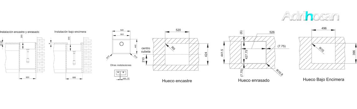 Fregadero acero inoxidable aktuell 5040. Un fregadero con tres posibilidades de instalación, sobre encimera, bajo encimera y enrasado con la encimera.