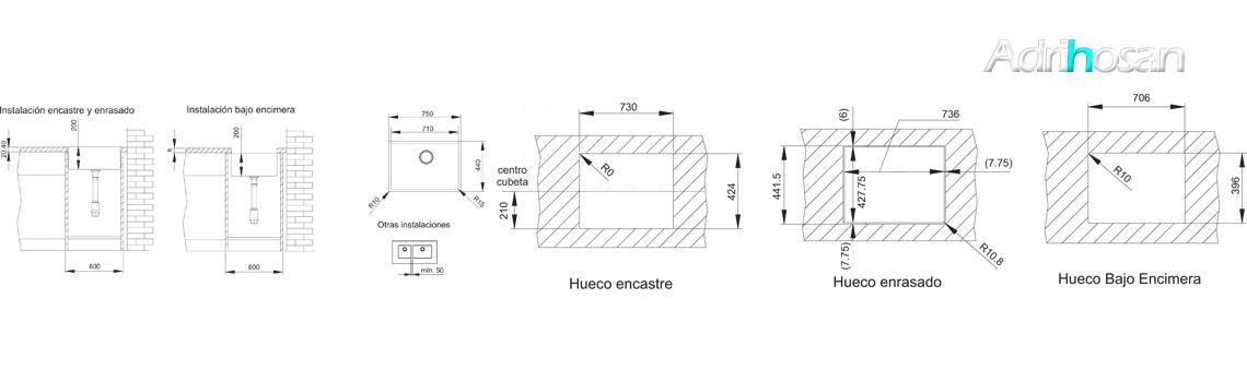 Fregadero acero inoxidable aktuell 7140. Un fregadero con tres posibilidades de instalación, sobre encimera, bajo encimera y enrasado con la encimera.