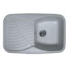 Fregadero de fibra domus 1c+1e brillo sobre encimera. La utilización de fibra de vidrio permite fregaderos más ligeros y con mucho diseño.