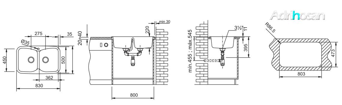 Fregadero de fibra domus 2c brillo sobre encimera. La utilización de fibra de vidrio permite fregaderos más ligeros y con mucho diseño.