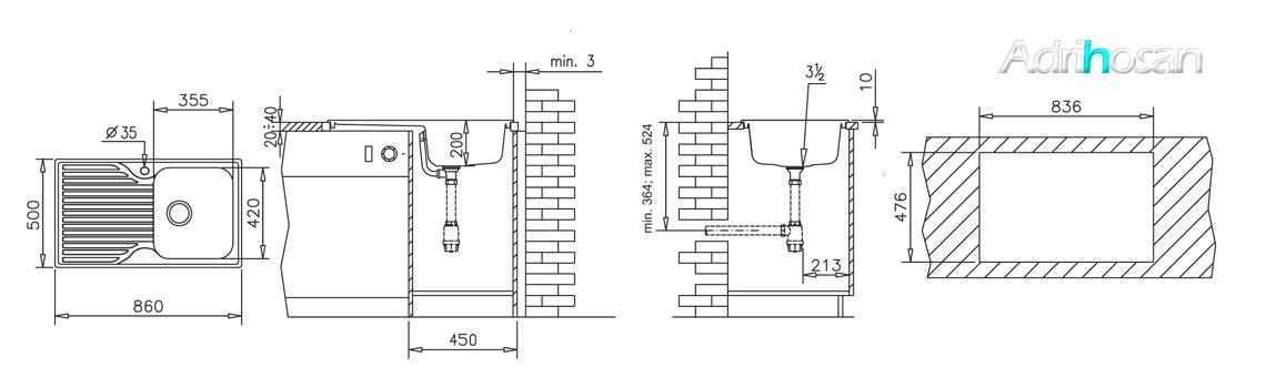 Fregadero de fibra zentia 1c+1e brillo bajo o sobre encimera. La utilización de fibra de vidrio permite fregaderos más ligeros y con mucho diseño.