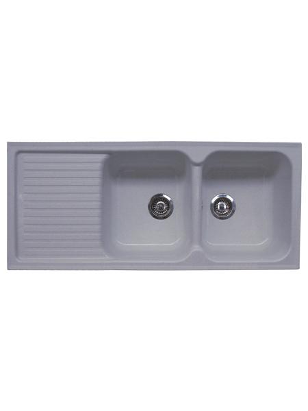 Fregadero de fibra zentia 2 c+1e brillo sobre encimera. La utilización de fibra de vidrio permite fregaderos más ligeros y con mucho diseño.