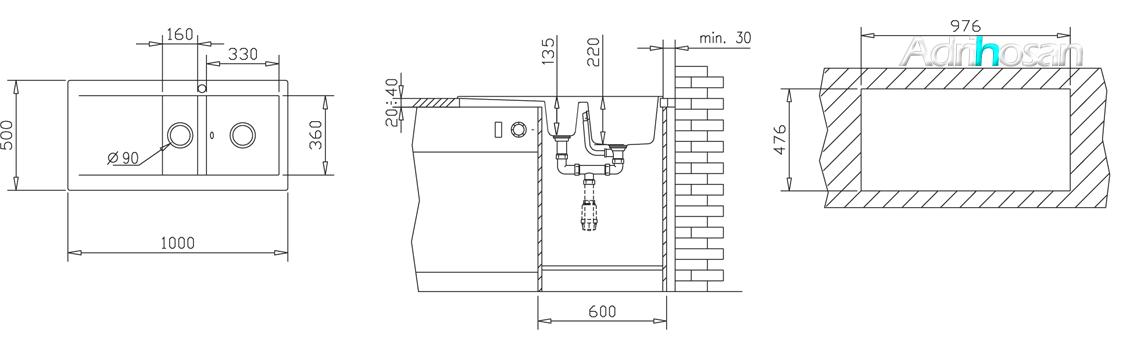 Fregadero sintético Esencia 1 cubeta+ ½ cubeta 1 escurridera brillo sobre encimera. Un fregadero con una gran cubeta de las más grandes de los fregaderos con escurridera.