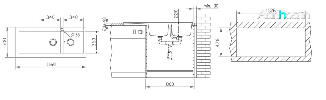 Fregadero sintético Esencia 2c +1e brillo sobre encimera. Un fregadero con dos grandes cubetas de las más grandes de los fregaderos con escurridera.