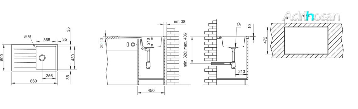 Fregadero sintético Sierra 1c+1e brillo sobre encimera. Un fregadero con una gran cubeta de las más grandes de los fregaderos con escurridera.