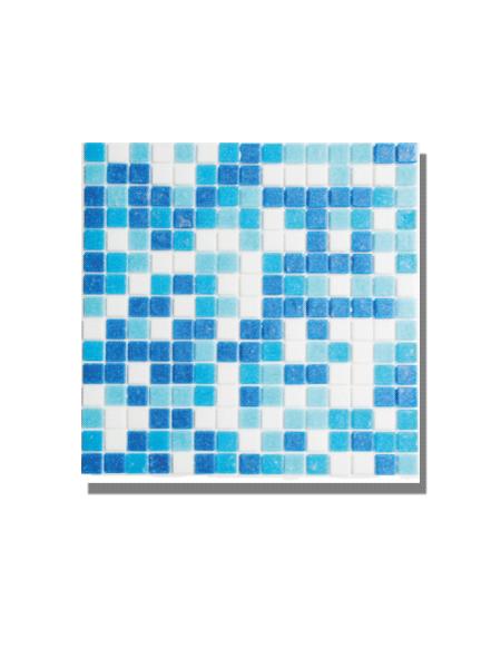 Gresite para piscinas tesela 2x2 cm malla 30x30 cm Azul blanco. Un gresite en tonalidades azules que hará tu piscina única. Gran calidad. En Stock.
