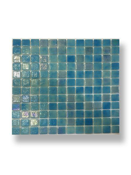 Gresite para piscinas tesela 2,5x2,5 cm malla 30x30 cm Azul nacar N1205+IN1205