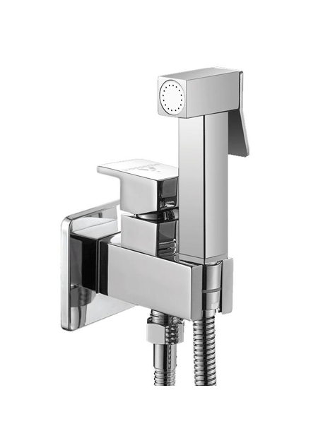 Monomando bide a pared agua fría y caliente cuadrado. Una gran solución de grifo para instalar al lado del inodoro para una perfecta higiene.