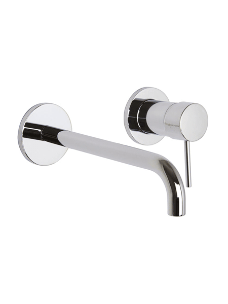 Monomando lavabo empotrado caño largo Spilo Up design by Fima italia. Una grifería de diseño curvo muy versatil y elegante del prestigioso fabricante italiano Fima