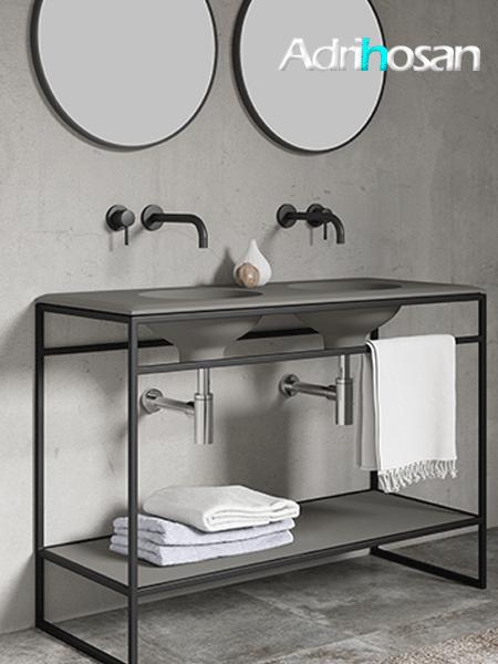 Mueble de baño metálico a suelo negro Litos Poalgi  120x48x85 cm