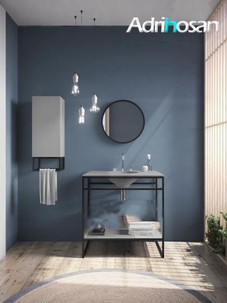 Mueble de baño metálico a suelo negro Litos Poalgi  100x48x85 cm