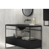 Mueble de baño metálico a suelo negro Litos Poalgi 80x48x85 cm.Fabricado con resinas minerales, Gel Coat sanitario y sistema Antibacterias Bactiblock ®