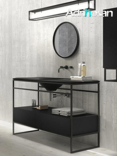 Mueble de baño metálico c/ cajonera a suelo negro Litos Poalgi  80x48x85 cm