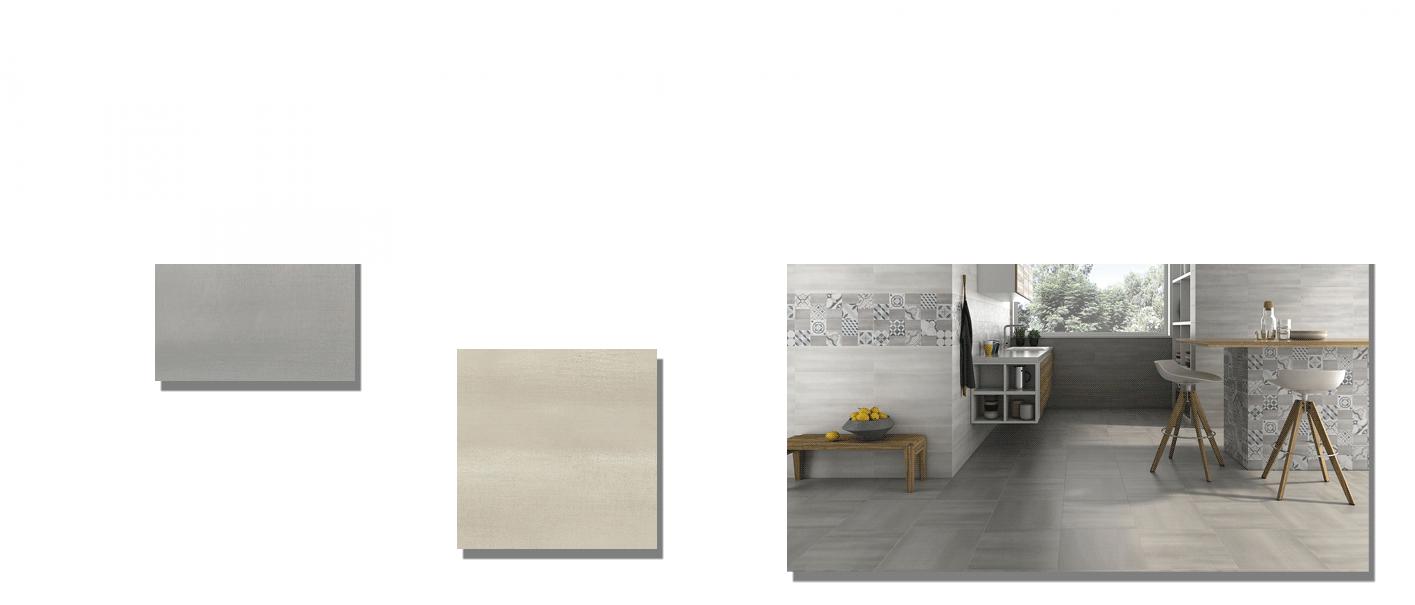 Pavimento Clouds mate 33.8x33.8 cm. Una serie de azulejo para suelos imitación cemento altamente destonificado para combinar con nuestra serie Clouds.