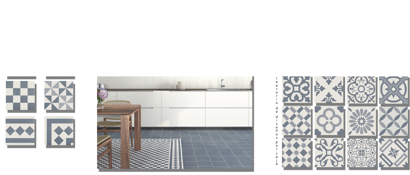 Pavimento imitación hidráulico Antigua 20x20 cm. Diseños del pasado con tecnología del presente, azulejo para paredes y suelos vintage.