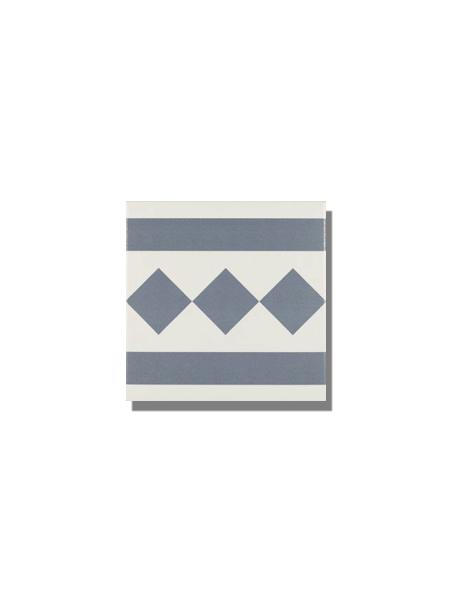 Pavimento imitación hidráulico Antigua azul cenefa 20x20 cm. Diseños del pasado con tecnología del presente, azulejo para paredes y suelos vintage.