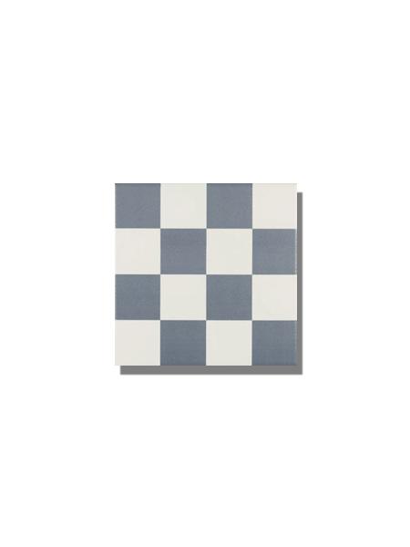 Pavimento imitación hidráulico Antigua azul chess 20x20 cm. Diseños del pasado con tecnología del presente, azulejo para paredes y suelos vintage.