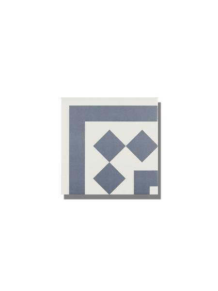 Pavimento imitación hidráulico Antigua azul esquina 20x20 cm. Diseños del pasado con tecnología del presente, azulejo para paredes y suelos vintage.