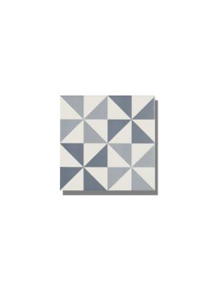 Pavimento imitación hidráulico Antigua azul triangulos 20x20 cm. Diseños del pasado con tecnología del presente, azulejo para paredes y suelos vintage.