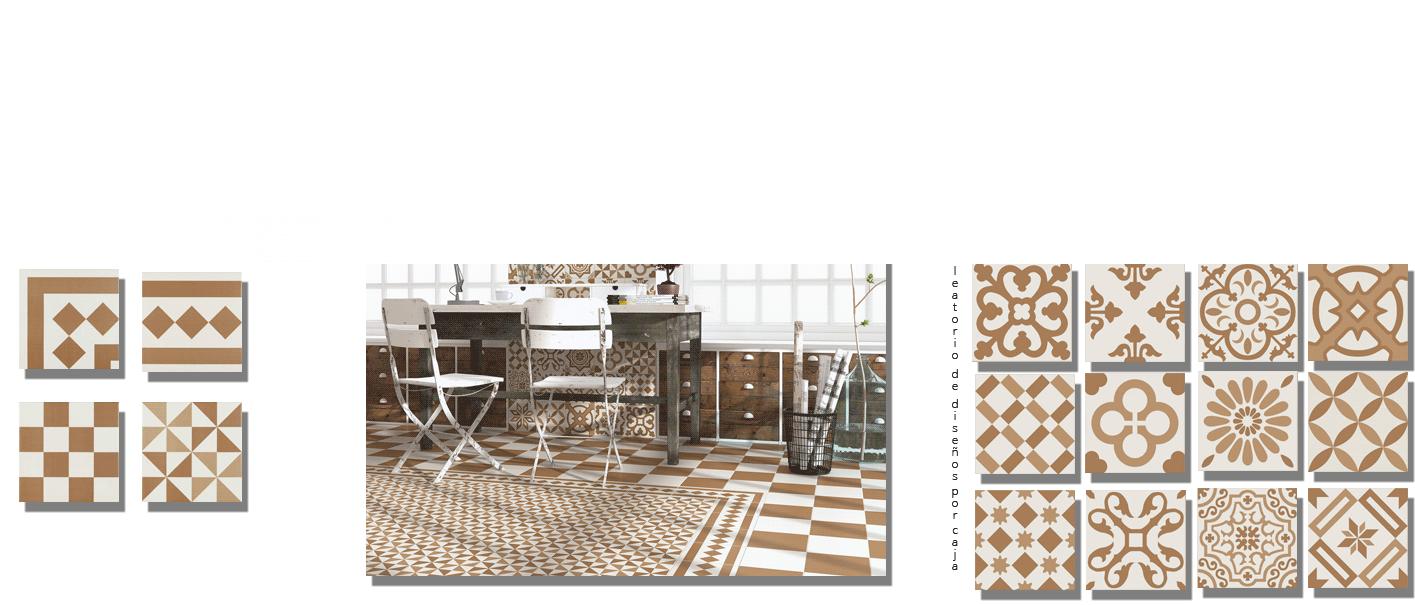 Pavimento imitación hidráulico Antigua beige 20x20 cm. Diseños del pasado con tecnología del presente, azulejo para paredes y suelos vintage.