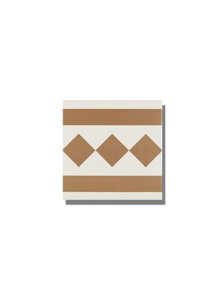 Pavimento imitación hidráulico Antigua beige cenefa 20x20 cm. Diseños del pasado con tecnología del presente, azulejo para paredes y suelos vintage.