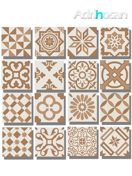 Pavimento imitación hidráulico Antigua beige decor 20x20 cm (1 m2/cj)