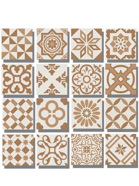 Pavimento imitación hidráulico Antigua beige decor 20x20 cm. Diseños del pasado con tecnología del presente, azulejo para paredes y suelos vintage.