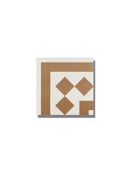 Pavimento imitación hidráulico Antigua beige esquina 20x20 cm. Diseños del pasado con tecnología del presente, azulejo para paredes y suelos vintage.