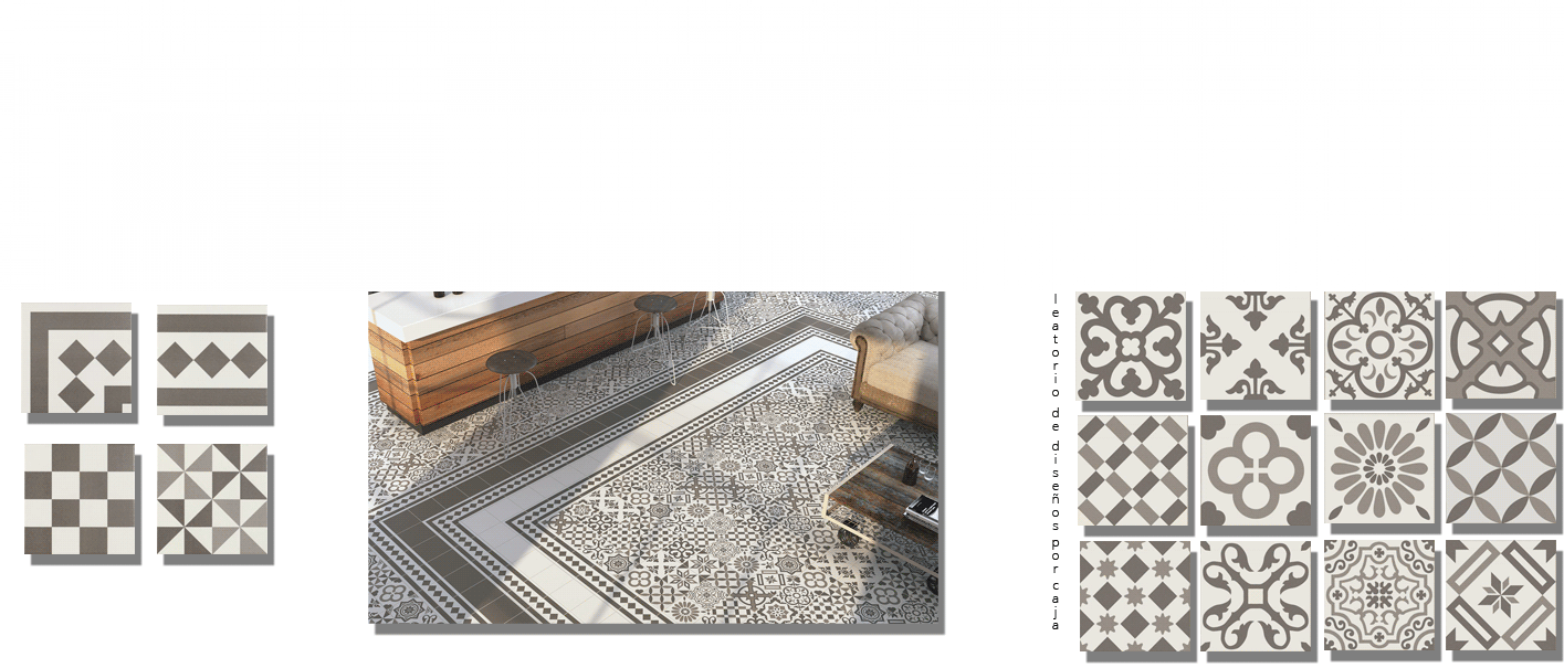 Pavimento imitación hidráulico Antigua gris 20x20 cm. Diseños del pasado con tecnología del presente, azulejo para paredes y suelos vintage.
